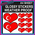 LOVE TURKEY HEART FLAG GRAPHICS CAR BUMPER WEATHER PROOF STICKERS MIXED SIZES